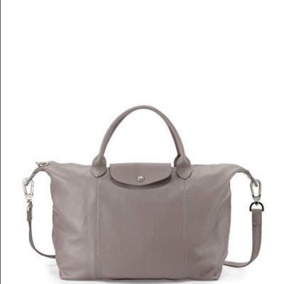 NWOT Longchamp Le Pilage Grey Lambskin Cuir xl Bag